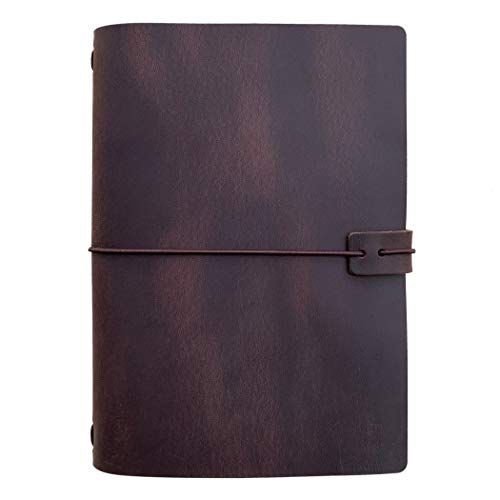 Cuaderno de viaje de cuero rellenable, tamaño A5, con inserto forrado, 21,8 x 13,9 cm, color marrón oscuro