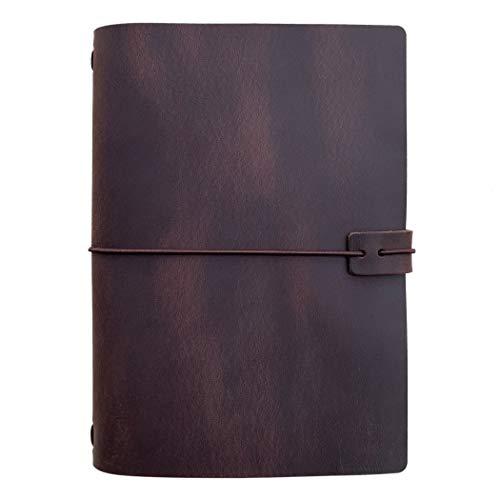Taccuino da viaggio in pelle, ricaricabile, formato A5, con inserto a righe, 20,5 x 15,5 cm, marrone scuro