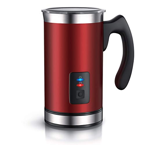 Arendo - Milchaufschäumer automatisch in Edelstahl - Milk Frother - rostfreies Edelstahl-Doppelwanddesign - Warm- und Kaltaufschäumen - automatische Abschaltfunktion - Farbe Rot