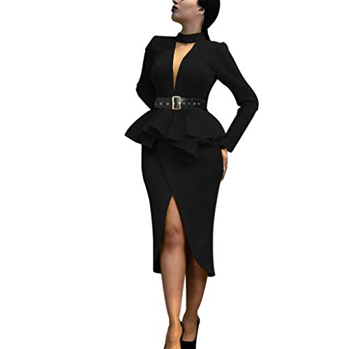 Ywoow Women Vintage Ladies Party Long Sleeve Asymmetrical Standard Fitted Dresses, Sexy Dress Skirt V-Neck Hollow Bag Hip, Women's Sundress Dresses Party Beach Dress
