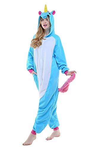 Regenboghorn Unisex Einhorn kostüme, Schlafanzug, Pyjama,für das Halloween ,Karneval und Weihnachten mit der Kapuze (M(155-165CM), Blau)