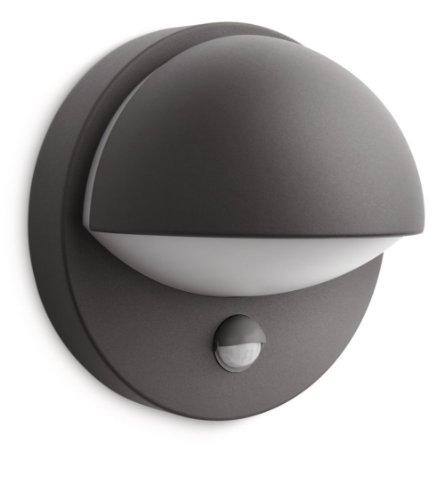 Philips June Lampada da Parete Down con Sensore per Esterno, Alluminio Antracite, Lampadina Inclusa