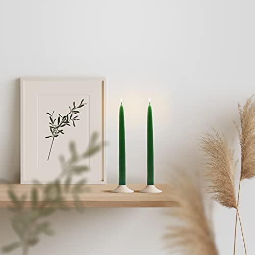 Bonamaison, 2-Piece Set Taper Candles, Paraffin Wax, Green, 2x25 cm