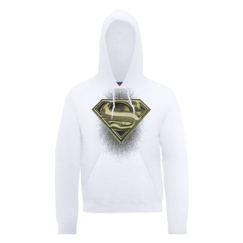 DC Comic DC0000356 Official Superman Engraving Logo Sweat-Shirt à Capuche, Blanc, M Homme