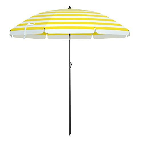 SONGMICS Sonnenschirm, Ø 160 cm, Marktschirm, UV Schutz UPF 50+, Sonnenschutz, achteckiger Gartenschirm aus Polyester, Schirmrippen aus Glasfaser, mit Tragetasche, Gelb-weiß gestreift GPU60YW