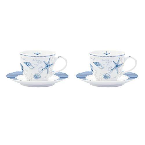 EASY LIFE 921MIST Coffret 2 Tasses à Café, Porcelaine, Bleu, 11 cm