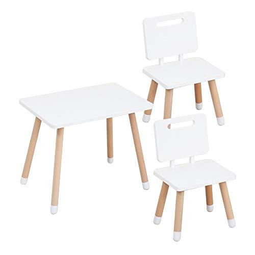 Juego de mesa y silla para niños, mesa y silla de estudio para niños antideslizante y ecológica para el hogar, cómoda mesa de escritura/mesa de juego con 2 sillas, fuerte y resistente al desgas