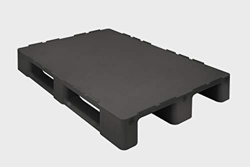 Universal Palette 1200x800 mm aus HDPE-RE Kunststoff schwarz geschlossenes Deck