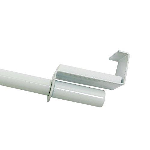 GARDINIA Spannvitrage, Ausziehbar, Montage ohne Schrauben und Bohren, Durchmesser 9 mm, Länge 90-130 cm, Metall, Weiß