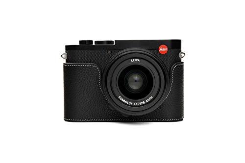 Leica Q2 Case, Zakao - Custodia in vera pelle fatta a mano, per fotocamera Leica Q2, versione con apertura inferiore, con cinturino da polso, colore: nero