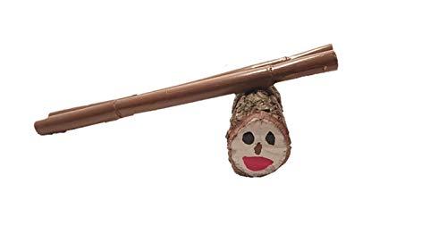Caga Tió Tió de Nadal en madera natural Pequeño (20cm) + 2 bastones de 40 cm