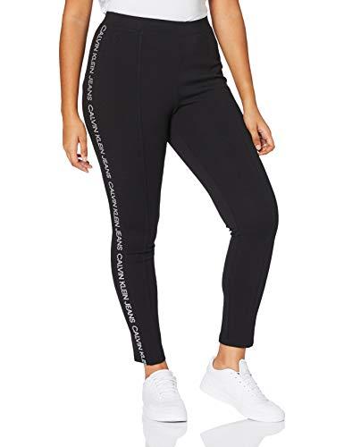 Calvin Klein Jeans Damen Moto Outline Logo Milano Legging Hose, Ck Black, L