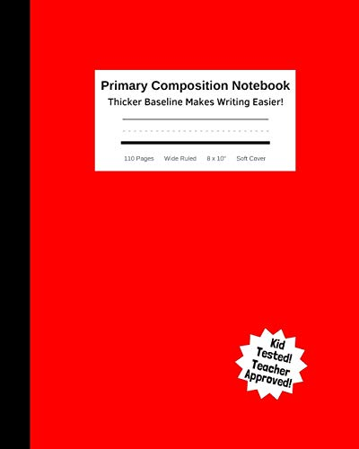 """Primary Composition Notebook - Thicker Baseline Makes Writing Easier: Kid's Practice Tablet Improves Handwriting & Builds Confidence With Visual Cues ... Wide Ruled 8 x 10"""" Soft Cover Red & Black"""