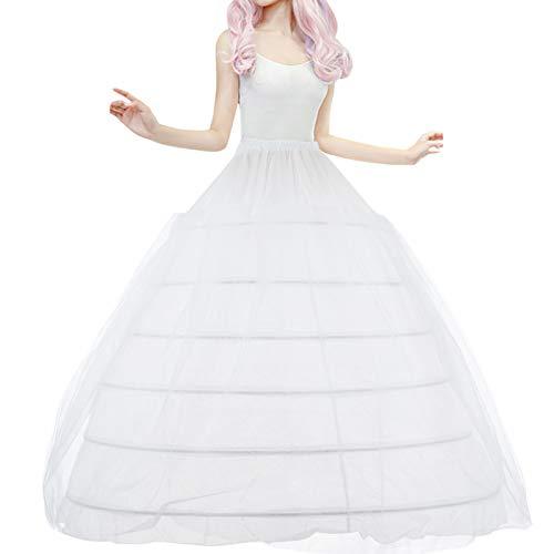 LONGBLE Reifrock Brautkleid 6 Ringe Petticoat Unterrock mit Tüll Krinoline - Reifen verstellbar, lang Reifrock Underskirt für Hochzeitskleider Ballkleider Abendkleider Promkleider, Weiß