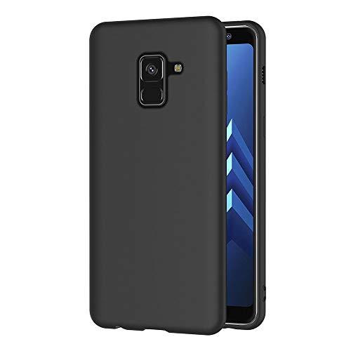 AICEK Funda Samsung Galaxy A8 2018, Negro Silicona Fundas para Samsung A8 2018 Carcasa Galaxy A8 2018 Negro Silicona Funda Case (5,6 Pulgadas)