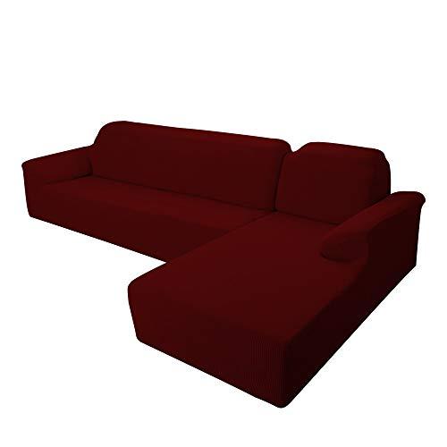 E EBETA Funda Elástica para Sofá Chaise Longue, Funda Cubre Sofá Chaise Longue Jacquard Funda de sofá para Juego de 2 en Forma de L + sofá de Esquina de 2 plazas Derecho (Borgoña)