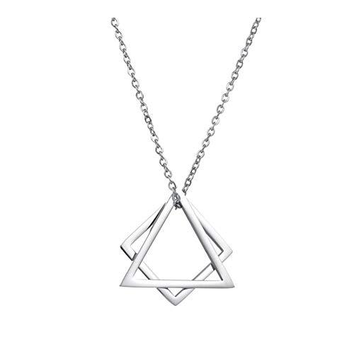 316L Sencillo Collar de Acero de Titanio nicho Creativo geométrica del triángulo Colgante de joyería de los Pares Mujer niña para (Metal Color : Silver)
