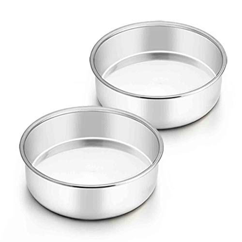 TeamFar 6 Inch Cake Pan, 2 Pcs Round Tier Cake Pan Set Stainless Steel for Baking Steaming Serving, Fit in Oven Pot Air Fryer, Healthy & Heavy Duty, Mirror Finish & Easy Clean, Dishwasher Safe