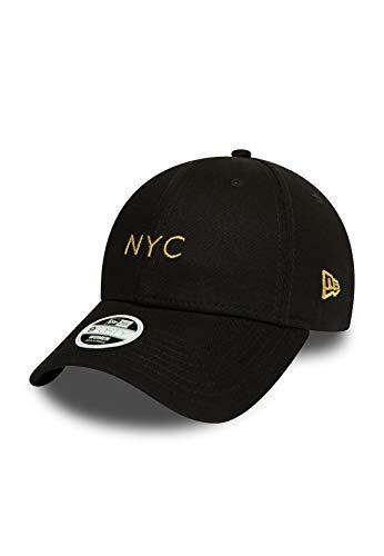 New Era NYC - Gorra ajustable para mujer, color negro y dorado Negro Talla única