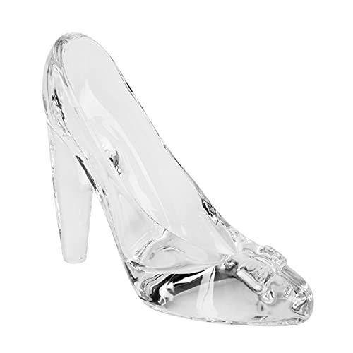 Fablcrew - Scarpe da Cenerentola in vetro trasparente con tacco alto, ciondolo a pantofola di vetro, decorazione per festa di matrimonio, regalo per bambini e donne