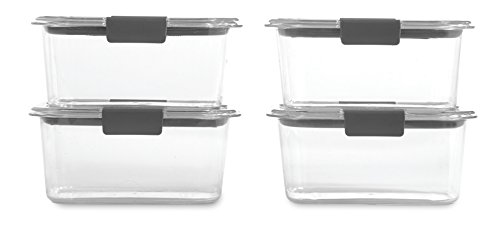 Rubbermaid Brilliance Food Storage Container BPAfree Plastic Medium Deep 47 Cup 4Pack Clear