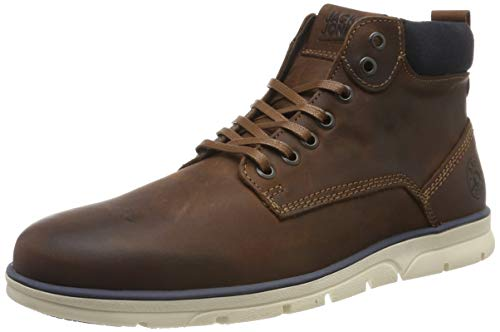 JACK & JONES Herren Lederstiefel Cognac 43Brandy Brown