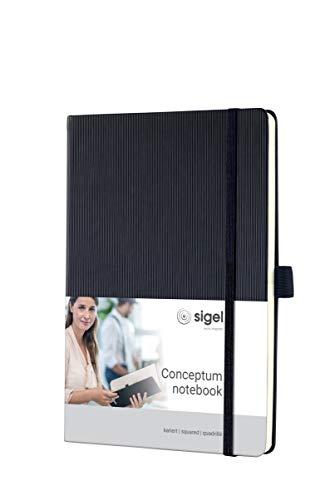 SIGEL CO121 Notizbuch ca. A5, kariert, Hardcover, schwarz, 194 Seiten, Conceptum - weitere Farben