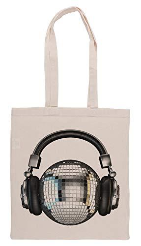 Headphone Disco Ball Groceries Beige Shopping Bag