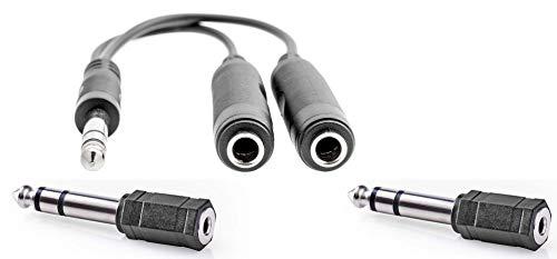 KnnX 28155 | Cable Divisor Adaptador de Audio estéreo | 6,35 mm Macho a 2 x 6,35 mm o 3,5 mm Hembra | para Auriculares o Altavoces | Longitud: 20 cm