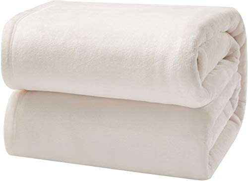 "Bedsure Flannel Fleece Blanket Queen Size (90""x90""), Cream - Lightweight Blanket for Sofa, Couch, Bed, Camping, Travel - Super Soft Cozy Microfiber Blanket"