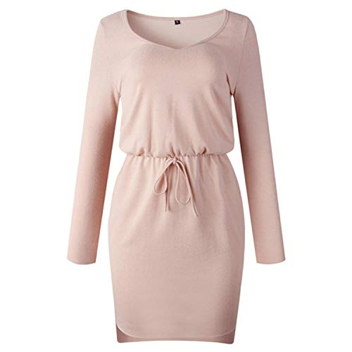 V Neck Women Sashes Long Sleeve Casual Dress Pink Black Gray Slit Mini Autumn Winter Knitted 2021 Warm Short Dresses