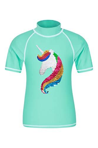 Mountain Warehouse Camiseta térmica de Manga Corta para niños - Camiseta térmica con protección Solar UPF50+, Camiseta térmica con Costuras Planas para niños Verde Agua 5-6 Años