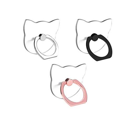 lenoup Transparenter Katzen Design Handy Ring Smartphone Fingerhalterung,360 Drehung Klar Katzen Handyringhalterung Finger Handy Ringhalter für Handys, Pad