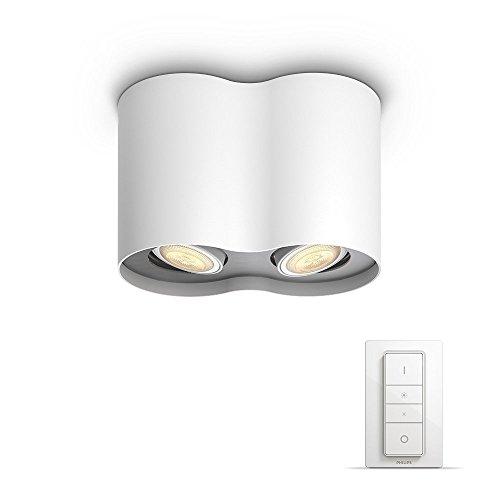 Philips Hue LED 2-er Spot Pillar inkl. Dimmschalter, dimmbar, alle Weißschattierungen, steuerbar via App, weiß, kompatibel mit Amazon Alexa (Echo, Echo Dot)