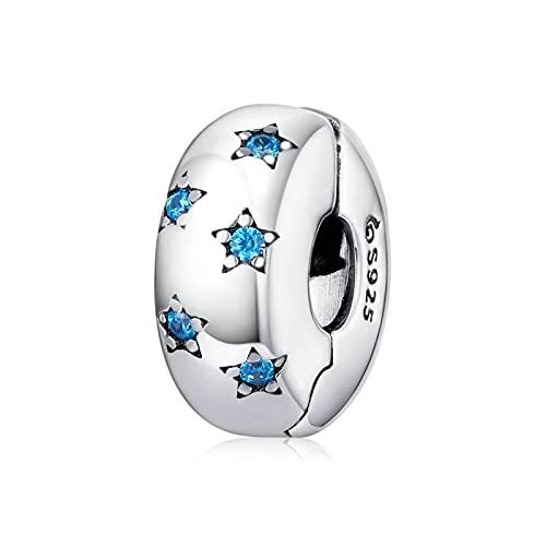 HMMJ Colgante con Dijes, Estrellas De Circonita Azul Que Pueden Abrir Espaciador Cuenta De Plata De Ley 925 para Pandora Chamilia Y Pulseras Y Collares Europeos