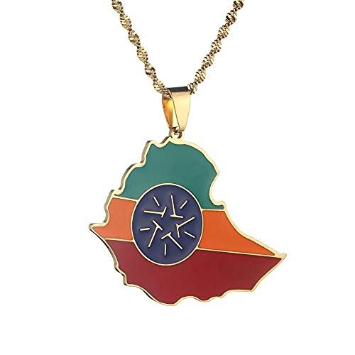 Kkoqmw Collares con Colgante de Bandera de Mapa de Etiopía
