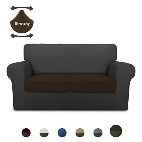 PureFit Mix & Match 3 Pieces Super Stretch Chair Couch Cover for 2 Cushion Slipcover – Spandex Non Slip Soft Sofa Cover for Kids, Pets, Washable Furniture Protector (Loveseat, Dark Gray/Coffee)