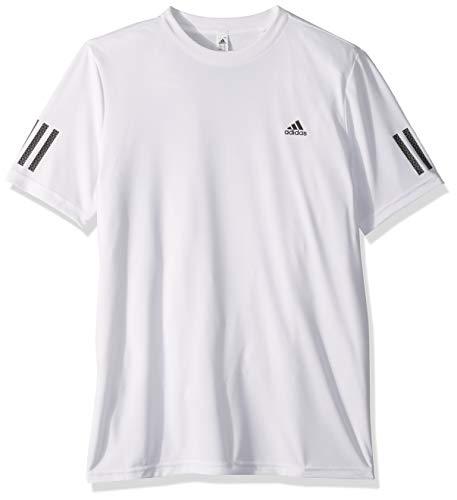 adidas Youth Club 3 Stripes Tennis Tee WhiteBlack Large