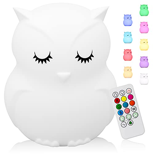 Cute Animal Kids Night Light, Silicone Rechargeable Nursery NightLights,Portable Changing Mode Multicolor Lamp Light Children Bedroom,Gifts for Women Toddler Baby Kawaii Room Decor (Owl)