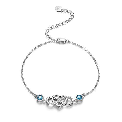 Infinity Fußkettchen Sterling Silber 925 Damen Unendlichkeit Fusskettchen mit Kristalle von Swarovski 28cm