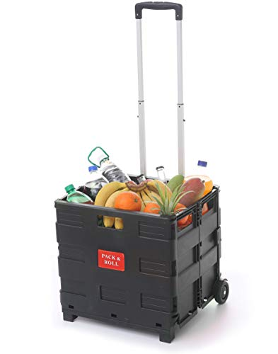 Caja de Plastico Plegable con Ruedas - Hasta 35 kg de Carga - Asa de Aluminio Extensible - Multiusos - Color Negro