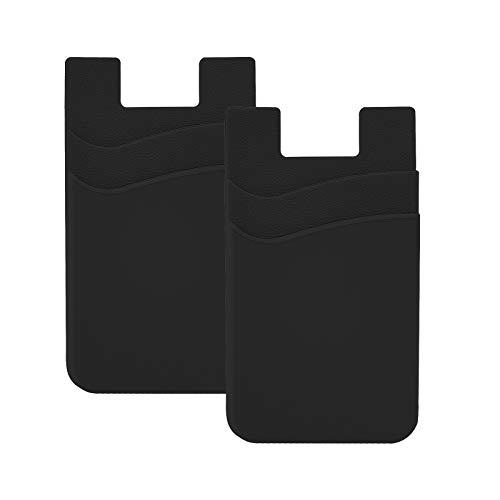 SHANSHUI 2 Pack Tarjetero Adhesivo Porta Tarjetas, para Todo Tipo de Móviles con Cinta Adhesiva de,Bolsillo y Soporte para Auriculares con Función de portadocumentos(Negro)