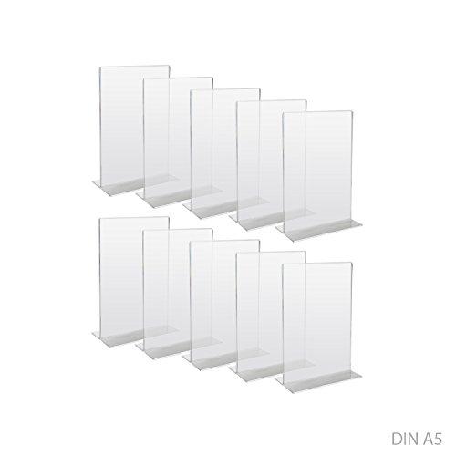 HMF 46921 Acryl Tischaufsteller gerade | 10 Stück | DIN A5 Hochformat | Glasklar