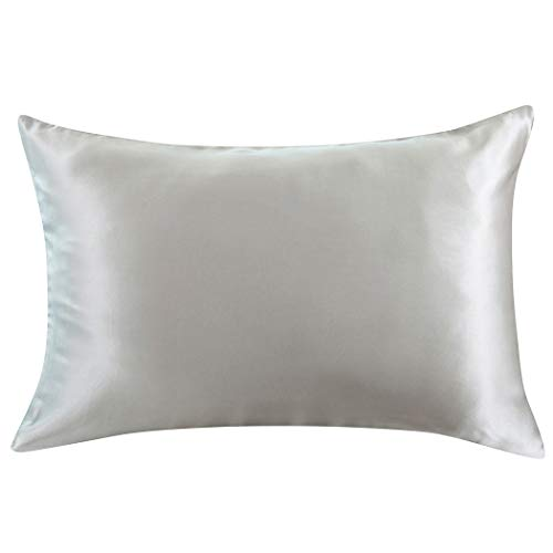 ZIMASILK 100% Mulberry Silk Pillowcase for Hair and Skin,Both Side 19 Momme Silk, 1pc (Queen 20''x30'', Silver Grey)