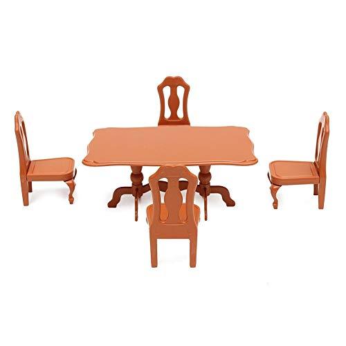 CAheadY 5 Teile / Satz Puppenhaus Mini Möbel Esstisch Stuhl Modell Spielzeug Landschaft Zubehör Brown