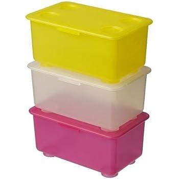 Ikea - Cajas Glis con tapa en amarillo, rosa y blanco, 3 unidades: Amazon.es: Juguetes y juegos