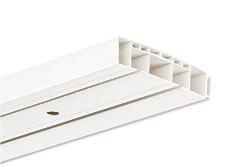 HUGG-Vorhang-Schiene (VS.380.2) 1-/ 2-/ 3- Lauf, Decken-Montage, Ihre Auswahl: 2-Lauf - Länge: 270 cm (1x 120cm, 1x 150cm)
