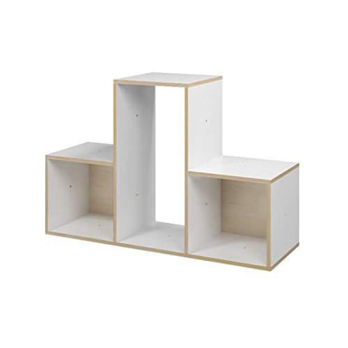 Ehring Markenmöbel Tetris Regal T aus Holz, Farbe weiß