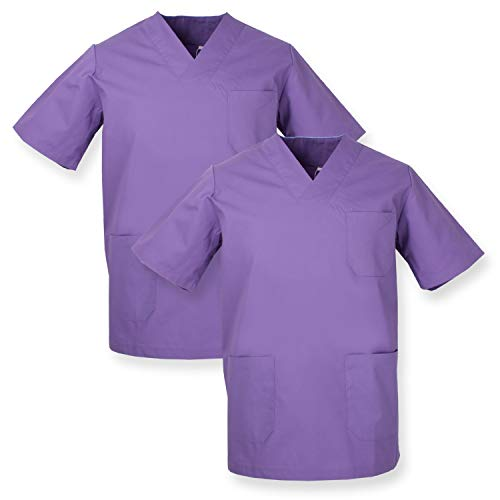 MISEMIYA - Pack*2 - Casaca Sanitarios Unisex Uniformes Sanitarios Cuello Pico Mangas Cortas Uniformes Laboratorios - Ref.817 * 2 - M, Lila