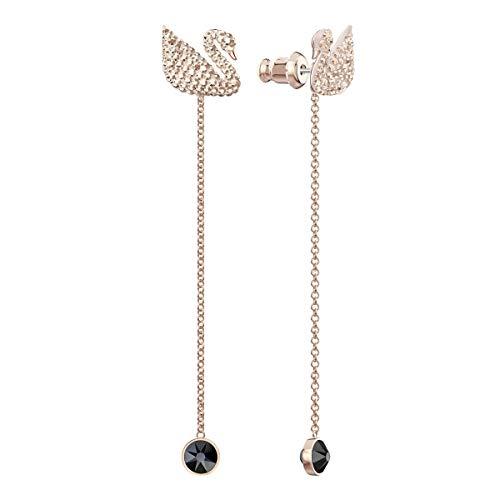 Swarovski Orecchini Iconic Swan, Marrone, Placcato Oro Rosa